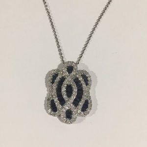 Jewelry - 14k White Gold Diamond 💎 & Sapphire Pendant